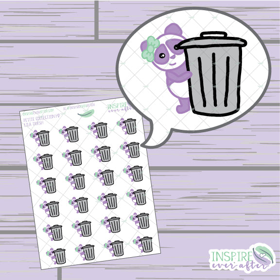 Lila the Panda Trash Icon ~ Hand Drawn Petite Collection ~ Planner Stickers