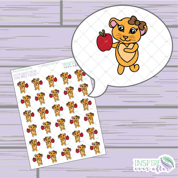 Luna the Lion Apple Pickin' ~ Hand Drawn Petite Collection ~ Planner Stickers