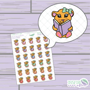 Luna the Lion Reading ~ Hand Drawn Petite Collection ~ Planner Stickers