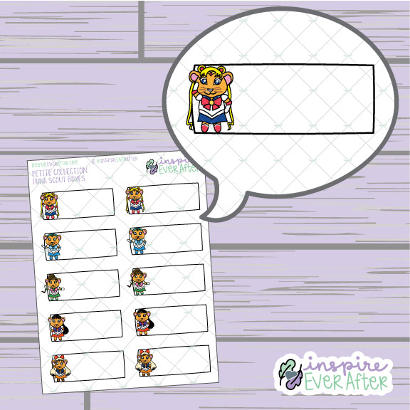 Luna Scout Boxes ~ Hand Drawn 90s Things ~ Petite Collection ~ Planner Stickers
