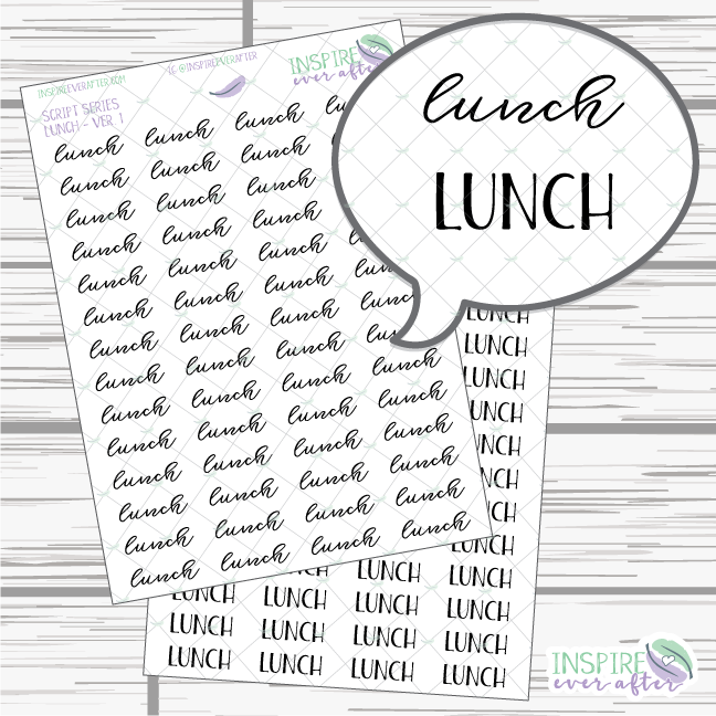 Lunch ~ Script OR Print ~ Script Series ~ Planner Stickers