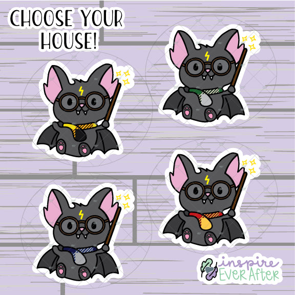 Magical Bat Die Cut ~ Choose Your House! ~ Hand Drawn Magical Deco ~ Planner Accessories