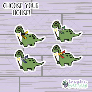 Magical Dino Die Cut ~ Choose Your House! ~ Hand Drawn Magical Deco ~ Planner Accessories
