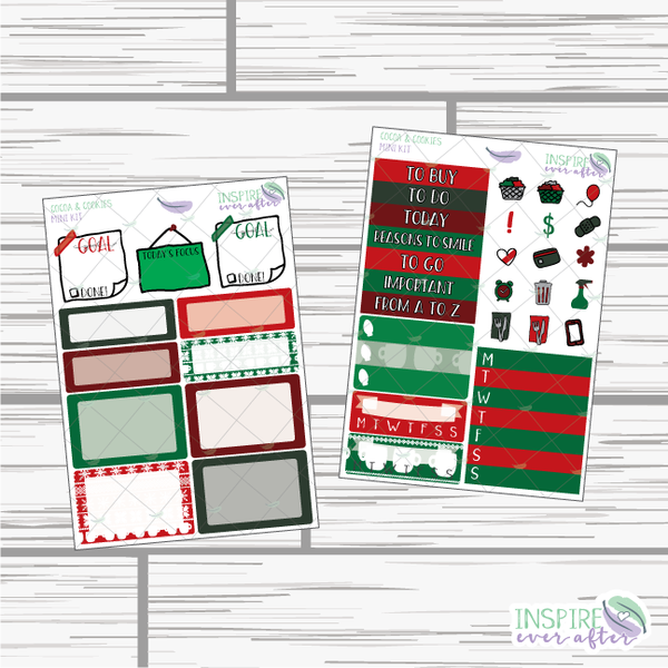 Cocoa & Cookies Mini Weekly Kit ~ Planner Stickers