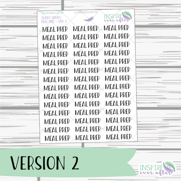 Meal Prep ~ Script OR Print ~ Script Series ~ Planner Stickers