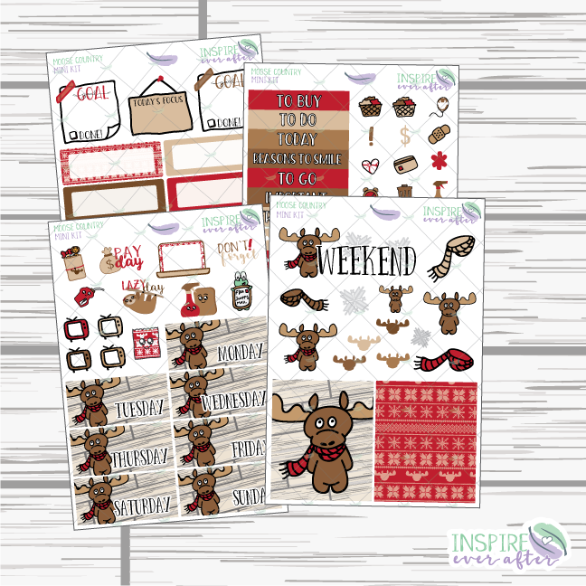 Moose Country Mini Weekly Kit ~ Hand Drawn Planner Stickers