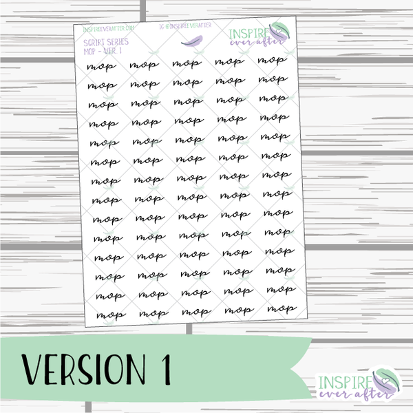Mop ~ Script OR Print ~ Script Series ~ Planner Stickers