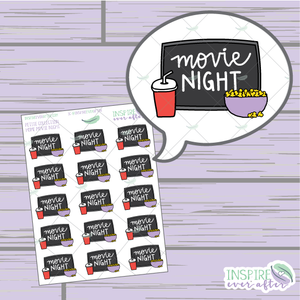 Movie Night In ~ Hand Drawn Petite Collection ~ Planner Stickers