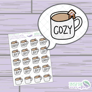 Winter Quote Coffee/Tea Mug with Gingerbread House Topper ~ Hand Drawn Petite Collection ~ Planner Stickers