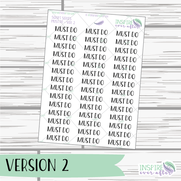 Must Do ~ Script OR Print ~ Script Series ~ Planner Stickers