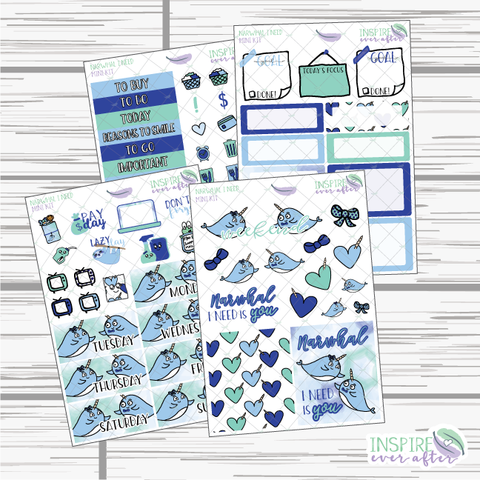 Narwhal I Need Mini Weekly Kit ~ Hand Drawn Planner Stickers