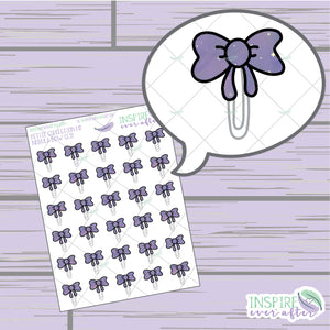 Nebula Bow Clips ~ Hand Drawn Petite Collection ~ Planner Stickers