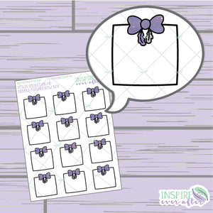 Nebula Feather Bow Box ~ Hand Drawn Petite Collection ~ Planner Stickers