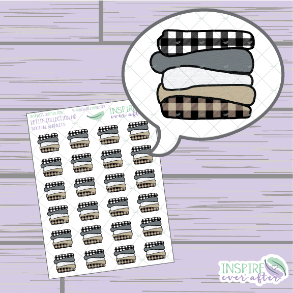 Neutral Cozy Blanket Stack ~ Hand Drawn Petite Collection ~ Planner Stickers