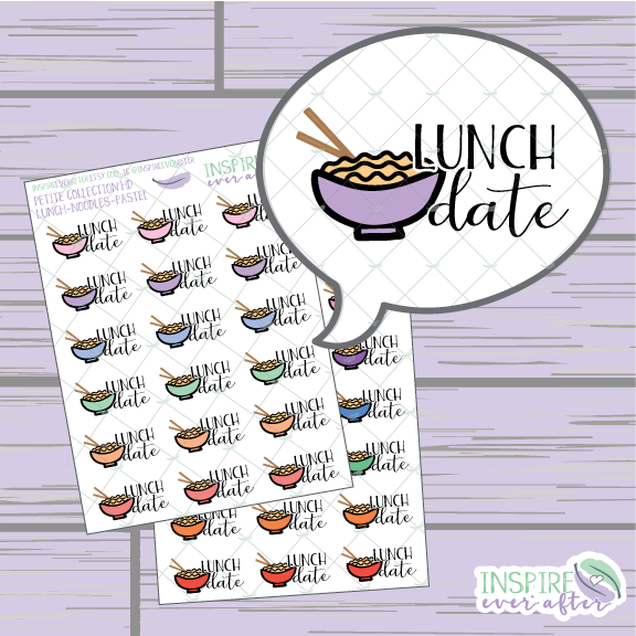 Lunch Date: Noodle/ Ramen Style ~  Pastel OR Bright ~ Hand Drawn Food Icons ~ Petite Collection ~ Planner Stickers