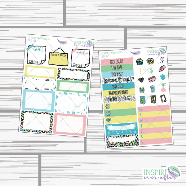 No Rain, No Flowers Mini Weekly Kit ~ Hand Drawn Planner Stickers