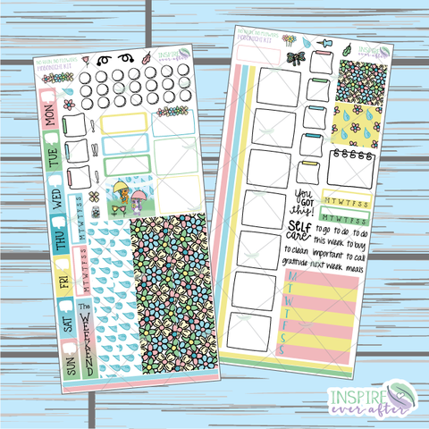 No Rain, No Flowers Hobonichi Weekly Kit ~ Hand Drawn Planner Stickers