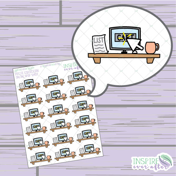 Online Shopping Shelf ~ Hand Drawn Shopping Icons ~ Petite Collection ~ Planner Stickers