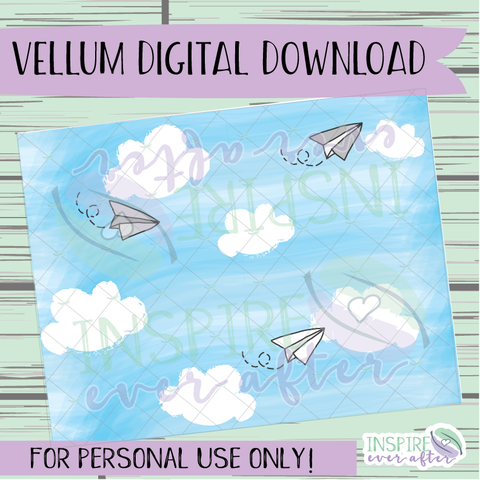 Paper Airplanes Vellum ~ Digital Download ~ Hand Drawn Digitals