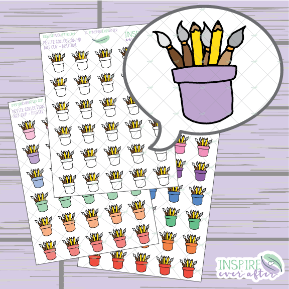 Art Cup with Paint Brushes & Pencils ~ Pastel, Bright, OR Neutral ~ Hand Drawn Petite Collection ~ Planner Stickers