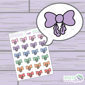 Pastel Feather Bows ~ Hand Drawn Petite Collection ~ Planner Stickers