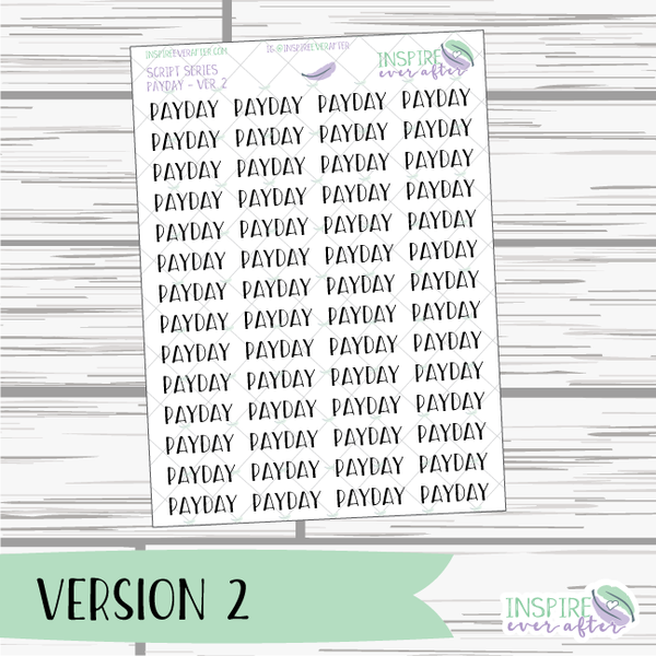 Payday ~ Script OR Print ~ Script Series ~ Planner Stickers