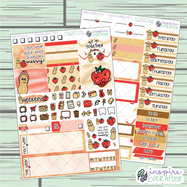 Peanut Butter & Strawberry Jelly PPB6 Weekly Kit ~ Hand Drawn Foodie ~ Functional Planner Stickers