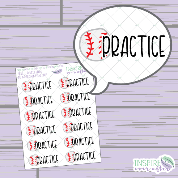 Baseball Practice ~ Hand Drawn Petite Collection Sport Icon ~ Planner Stickers