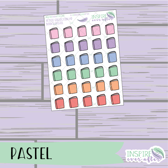 Books ~ Pastel OR Neutral ~ Hand Drawn Petite Collection Icon ~ Planner Stickers