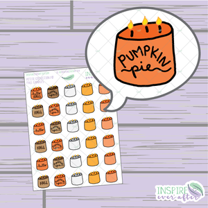 Fall Candles ~ Hand Drawn Icons ~ Petite Collection ~ Planner Stickers
