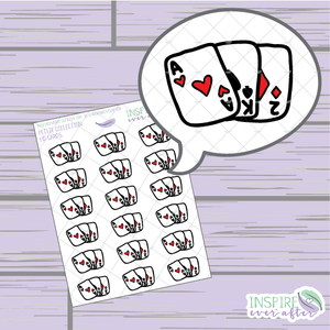 Playing Cards ~ Hand Drawn Game Night Icon ~ Petite Collection ~ Planner Stickers