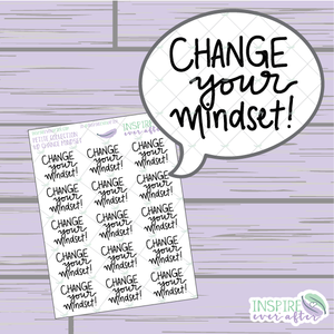 Change Your Mindset ~ Hand Lettered Petite Collection Positive Affirmation Icon ~ Planner Stickers