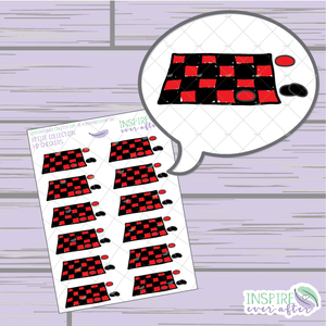 Checkers ~ Hand Drawn Game Night Icons ~ Petite Collection ~ Planner Stickers