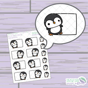 Penguin Box ~ Hand Drawn Petite Collection ~ Planner Stickers