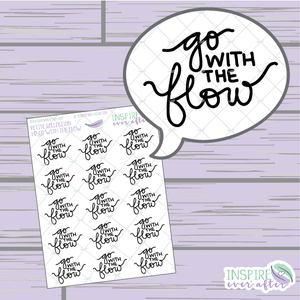 Go With The Flow ~ Hand Lettered Petite Collection Positive Affirmation Icon ~ Planner Stickers