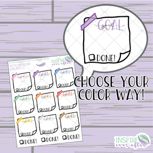 Goal Washied Note ~ Hand Drawn Petite Collection ~ Planner Stickers