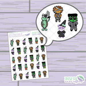 Halloween Characters ~ Hand Drawn Zion, Theo, Stevie & Lila ~ Petite Collection ~ Planner Stickers