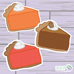 Fall Pie Slice Die Cuts ~ Pumpkin Pie, Pecan Pie OR Sweet Potato Pie ~ Hand Drawn Planner Accessories
