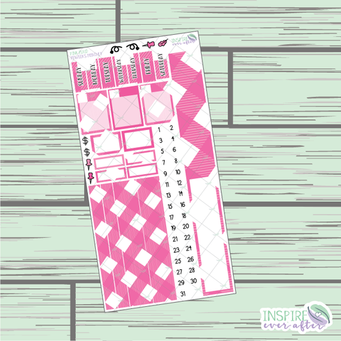 Pink Plaid PPWeeks Monthly Kit ~ Hand Drawn Functional Planner Stickers