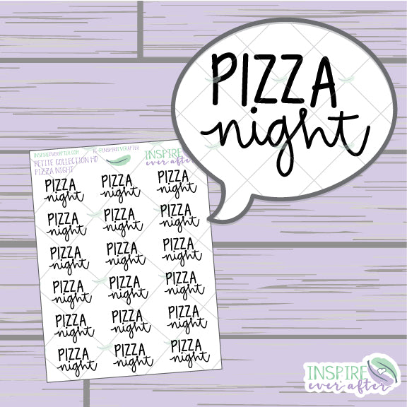 Pizza Night ~ Hand Lettered Food Script ~ Petite Collection ~ Planner Stickers