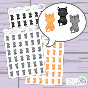 Kittens ~ Orange Tabby, Gray Tabby, OR Black & White ~ Hand Drawn Petite Collection ~ Planner Stickers