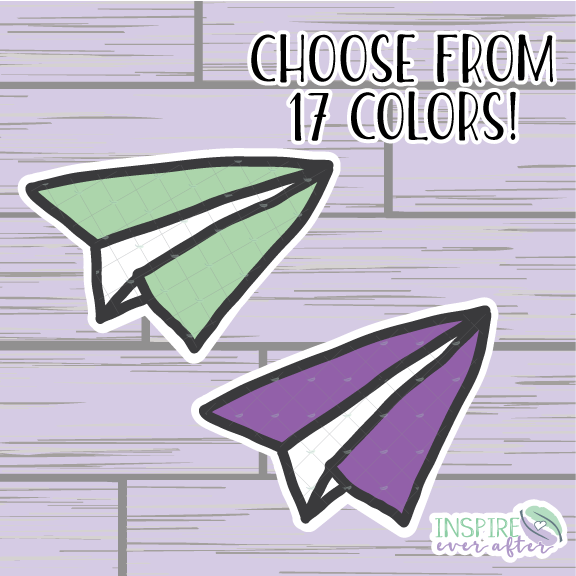 Paper Plane Die Cut ~ Choose Your Color! ~ Hand Drawn Planner Accessories