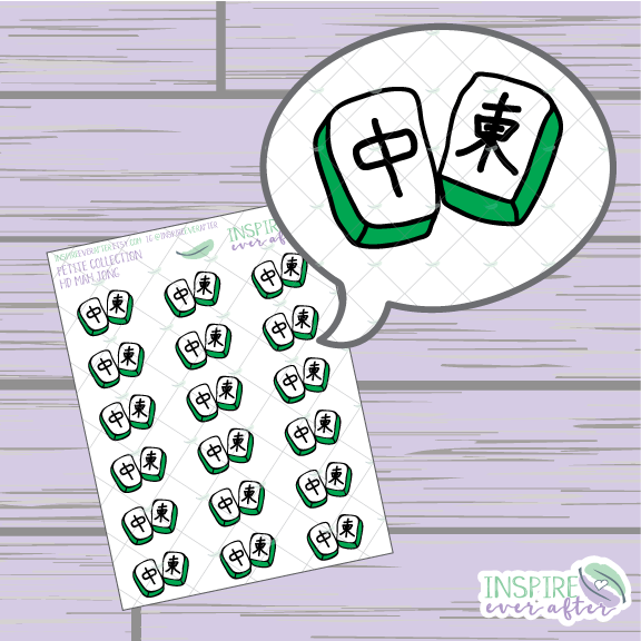 Mahjong Tiles ~ Hand Drawn Game Night Icons ~ Petite Collection ~ Planner Stickers