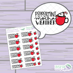 Peppermint Mocha Weather ~ Hand Drawn Petite Collection ~ Planner Stickers