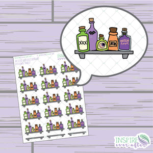 Potions Shelf ~ Hand Drawn Magical Halloween ~ Petite Collection ~ Planner Stickers