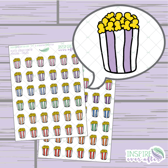 Popcorn ~ Pastel OR Bright ~ Hand Drawn Food Icons ~ Petite Collection ~ Planner Stickers