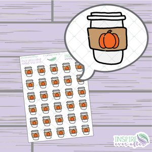 Pumpkin Spice Latte ~ Hand Drawn Petite Collection ~ Planner Stickers