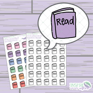 Read Book ~ Pastel OR Neutral ~ Hand Drawn Petite Collection Icon ~ Planner Stickers
