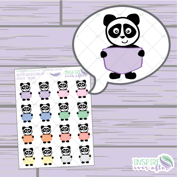Stevie the Panda Blank Sign ~ Hand Drawn Positive Affirmation Petite Collection ~ Planner Stickers