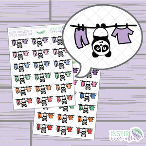 Stevie the Panda Laundry Line ~ Pastel OR Bright ~ Hand Drawn Cleaning Icon ~ Petite Collection ~ Planner Stickers